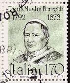 ITALY - CIRCA 1978: a stamp printed in Italy shows  portrait of  Giovanni Maria Mastai Ferretti (1792 �?�¢?? 1878), Pope Pius IX. Italy, circa 1978