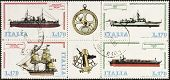 ITALY �?�¢?? CIRCA 1978: a block of four stamps printed in Italy shows illustrations of  four ships and old sextant and compass old sextant. Italy, circa 1978