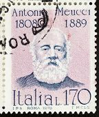 ITALY - CIRCA 1978: a stamp printed in Italy shows  portrait of  Antonio Meucci (1808 - 1889), famous Italian inventor credited for developing the first telephone. Italy, circa 1978