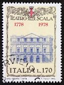 ITALY �?�¢?? CIRCA 1978: a stamp printed in Italy shows illustration of  La Scala theatre facade, famous opera house in Milan. Italy, circa 1978