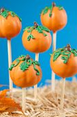 stock photo of cake-ball  - Pumpkin cake pops - JPG