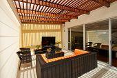 Interior design: Beautiful modern terrace lounge with pergola