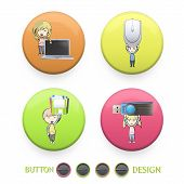 Kids Holding Mousse, Pendrive, Diskette, And Laptop Printed On Colorful Button. Vector Design