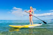 Young Attractive Woman on Stand Up Paddle Board, SUP, in the Blue Waters off Hawaii, Active Life Con