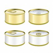 Set Of Can Of Tuna Over White Background. Vector Design