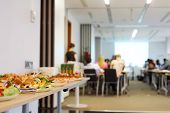 stock photo of buffet lunch  - Table with cold snacks and refreshments for business meeting - JPG