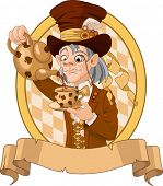 foto of mad hatter  - Mad Hatter with crazy eyes pours tea - JPG