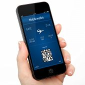 Isolated Woman Hand Holding The Phone With A Mobile Wallet And Plane Ticket