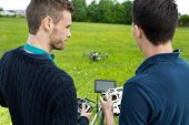 Young engineers with remote controls operating UAV octocopter in park