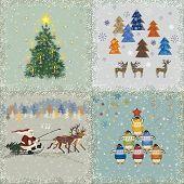 Four square retro christmas cards