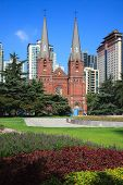 Cityscape - the square of St. Ignatius Cathedral, also referred to as Xujiahui Cathedral ,one of mos