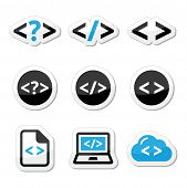 Progrmming code vector icons set