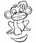 Black and white cartoon monkey with banana