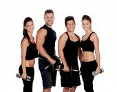 Group of friends with dumbbells isolated on white background