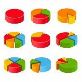Segmented and multicolored pie charts set
