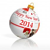stock photo of new year 2014  - Newspaper happy new year 2014 ball on white background - JPG