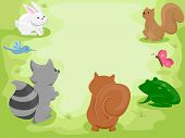 Illustration Featuring Cute Little Animals Gathering in the Woods