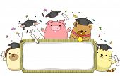 Banner Illustration Featuring Animals Wearing Graduation Caps and Holding Rolled Diplomas