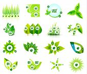 Set of eco leaf infographic design templates