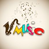 Colorful Musical background with musical notes and saxophone,  can be use as poster, banner for flye