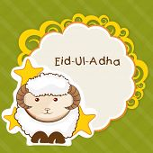 Muslim community festival of sacrifice Eid Ul Adha greeting card or background with sheep on abstract vintage background.