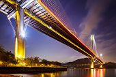 stock photo of hong kong bridge  - Ting Kau suspension bridge in Hong Kong at night  - JPG