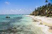 Arriving To A Perfect Untouched Wild Caribbean Beach At San Andres Island. Colombia, South America.