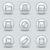 Drives and storage web icons, circle white matt buttons