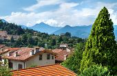View of the upper city center of Bergamo, Lombardy, Italy