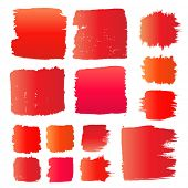Vector set of red grunge watercolor brush strokes.  Collection of red vector oil paint brush strokes