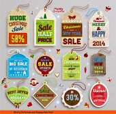 Christmas labels, tags, badges and holiday icons set. Vintage collection for Xmas retro design. Sale tags.