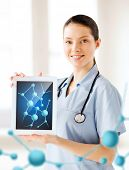 healthcare, hospital, research, science and medical concept - female doctor with tablet pc and molec