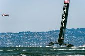 SAN FRANCISCO, CA - SEPTEMBER 12: Oracle Team USA competes in the America's Cup sailing races in San Francisco, CA on September 12, 2013