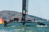 SAN FRANCISCO, CA - SEPTEMBER 12: The crew of Oracle Team USA prepares to compete in the America's C