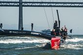 SAN FRANCISCO, CA - SEPTEMBER 12: Emirates Team New Zealand crew waves to crowd their America's Cup