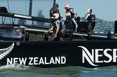 SAN FRANCISCO, CA - SEPTEMBER 12: Dean Barker and the crew of Emirates Team New Zealand compete in t