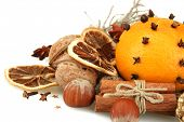 stock photo of mandarin orange  - composition of christmas spices - JPG