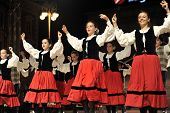ZAGREB,CROATIA - JULY 18: Members of folk groups Gero Axular from Spain in Basque national costume during the 47th International Folklore Festival in center of Zagreb,Croatia on July 18,2013