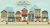 Main Street Storefronts - Hand drawn street with a row of colorful stores, street lights and high st