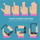 Tablets and gadgets with touch-screen display held in hand. Touch sgreen gestures icon set.