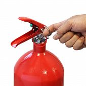 Постер, плакат: Hand Pulling Safety Pin Fire Extinguisher Isolated Over White Background