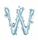 Blue water and clear drops. Liquid vector alphabet.