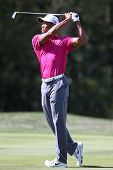 Sep 15, 2013; Lake Forest, IL, USA; Tiger Woods watches his fairway shot on the third hole during th