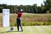 Sep 15, 2013; Lake Forest, IL, USA; Tiger Woods tees off the fifth hole during the third round of the BMW Championship at Conway Farms Golf Club.