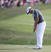 Sep 15, 2013; Lake Forest, IL, USA; Brian Davis putts the 18th green during the third round of the B