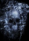 foto of cranium  - Photo montage of a human skull surrounded by cigarette smoke - JPG