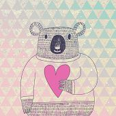 Cute koala bear in hipster style. Funny koala in sweater with big heart on modern stylish geometric  background in vector