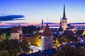 Skyline of Tallinn, Estonia at dawn.