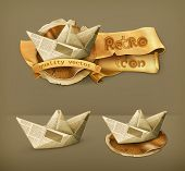 Paper boat, vector icon