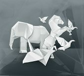 Origami animals vector illustration
